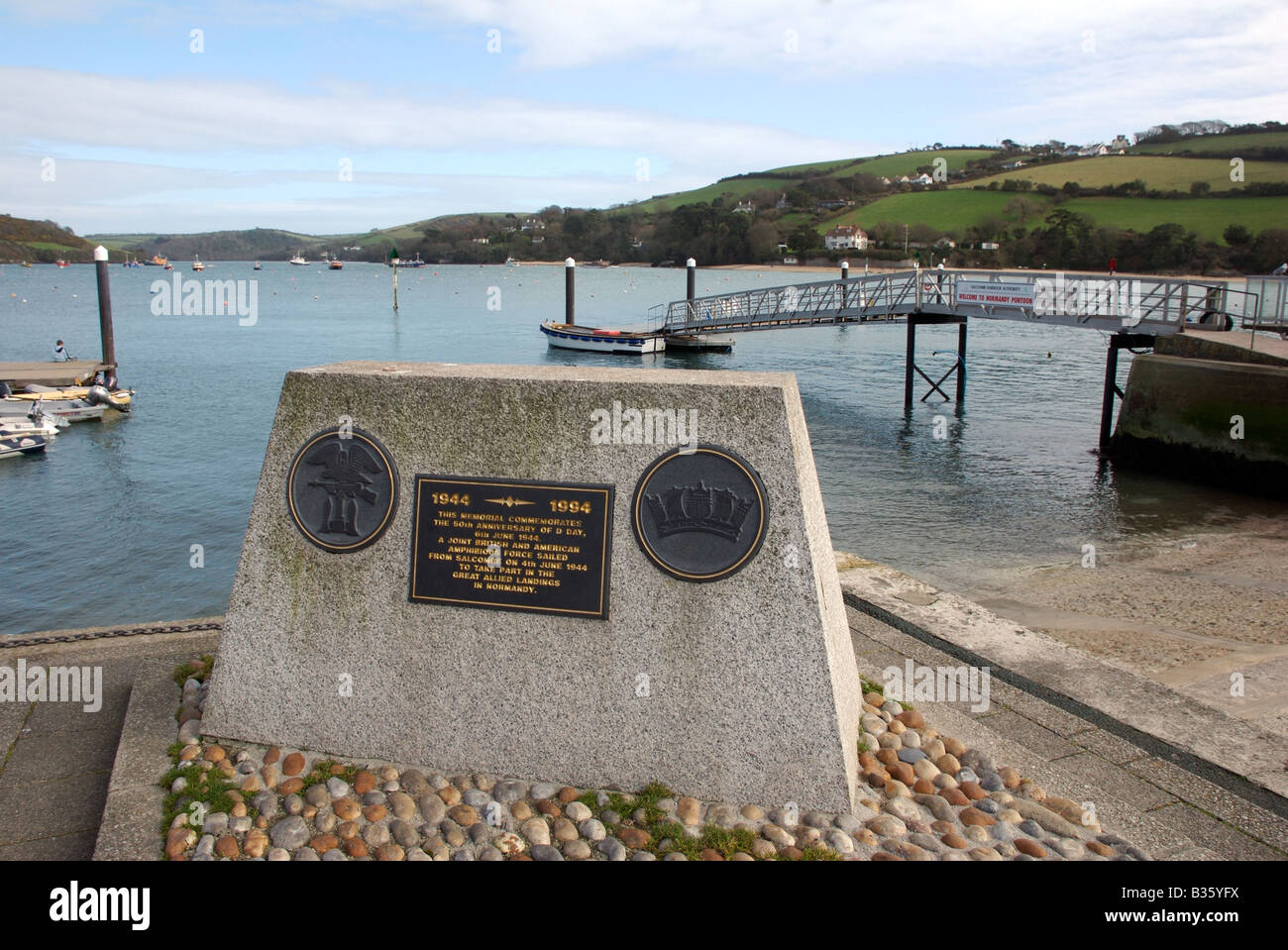1944 DDay landings Fiftieth anniversary stone, Salcombe, Devon, UK - Stock Image