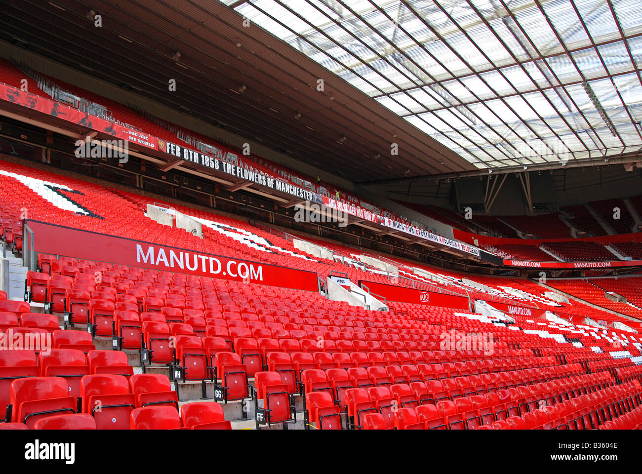 inside the empty stadium at old trafford home of the famous 'manchester united' football club, manchester, - Stock Image