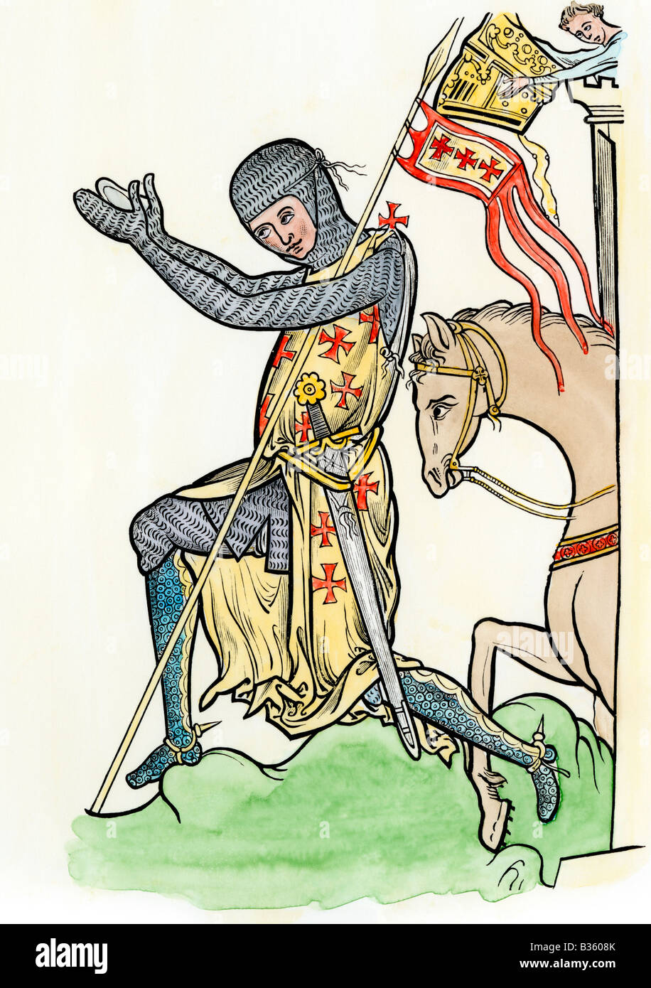 Knight in armor paying homage to his lord late 1200s. Hand-colored woodcut - Stock Image