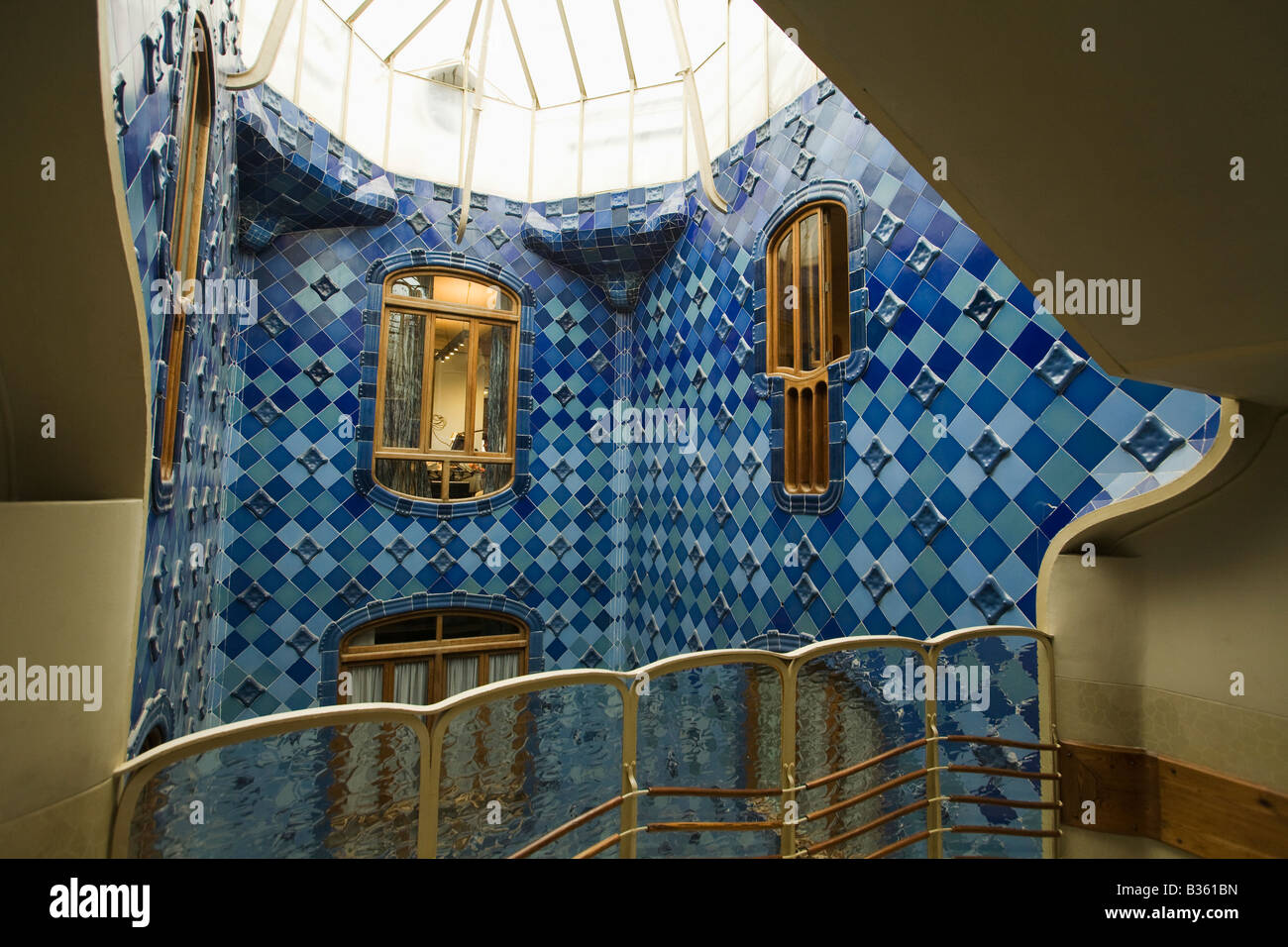 spain barcelona interior courtyard of casa batllo designed antoni