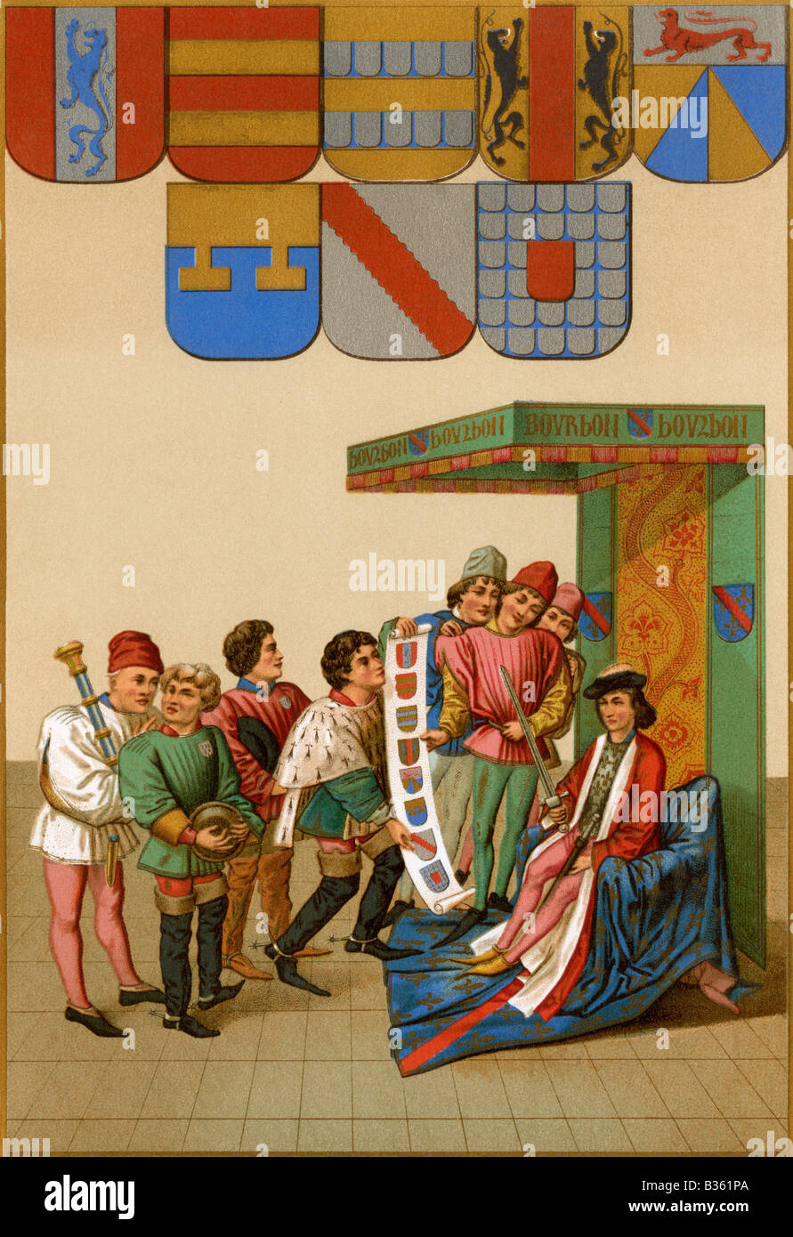 Duc de Bourbon reviewing the coats of arms of knights in a tournament. Color lithograph - Stock Image