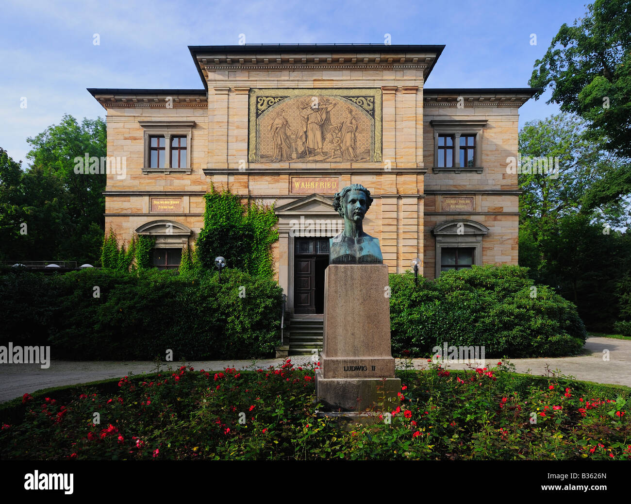 Villa Wahnfried Wagner House in Bayreuth Bavaria Germany - Stock Image
