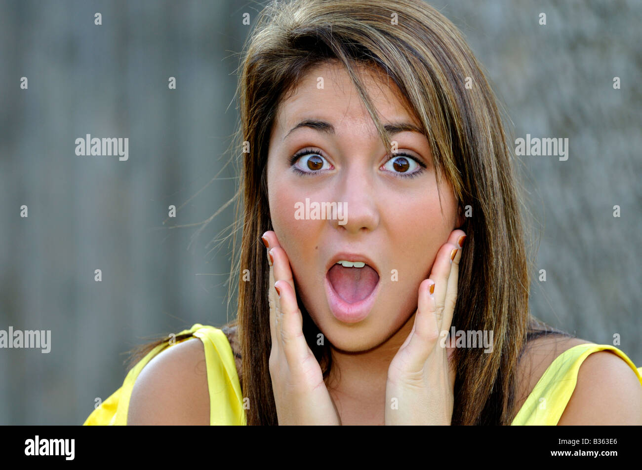 Female facial expression surprise