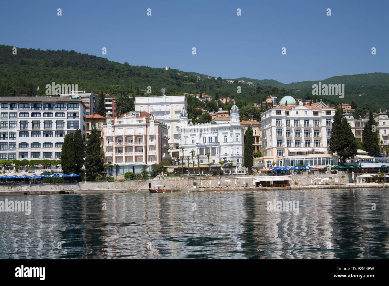 Opatija Istria Croatia Europe May The Casino and sea front hotels with cafes and restaurants Stock Photo
