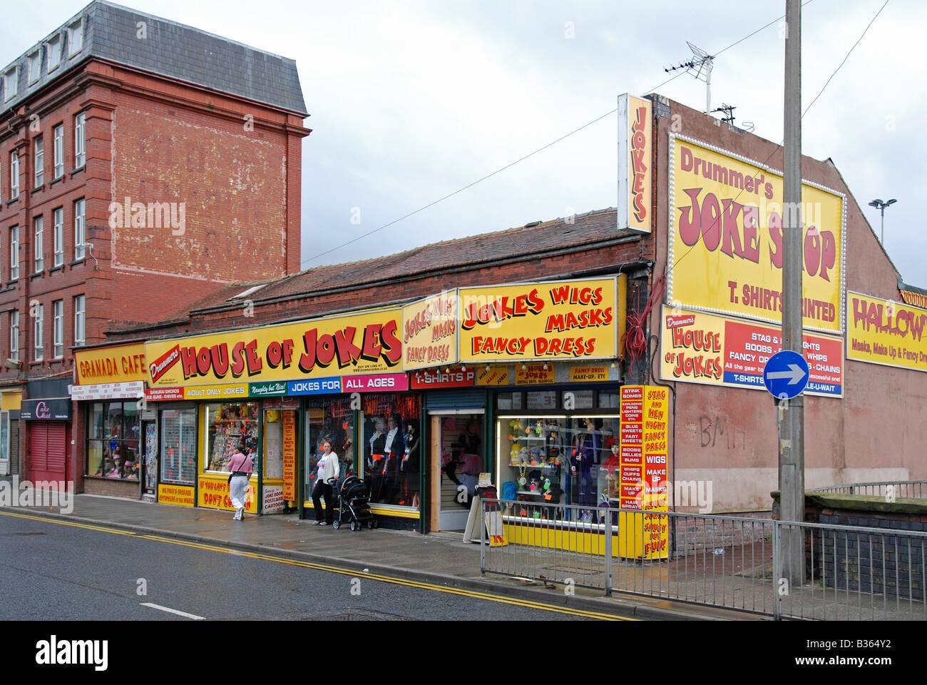 a large joke shop in blackpool,england,uk - Stock Image