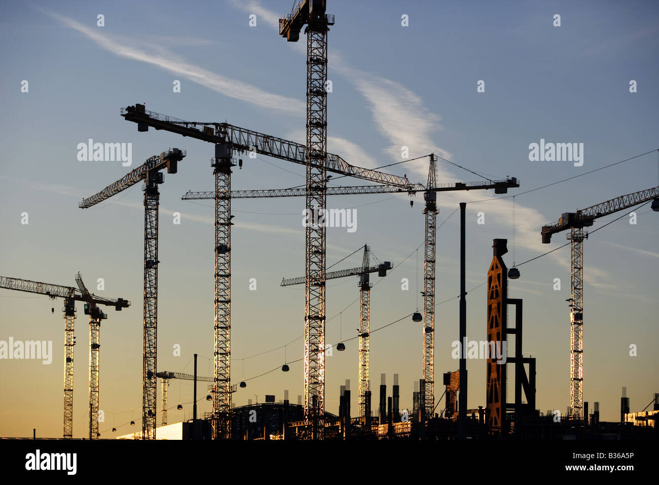 Cranes at the City Center construction site near Rhein-Main Airport, Frankfurt Stock Photo