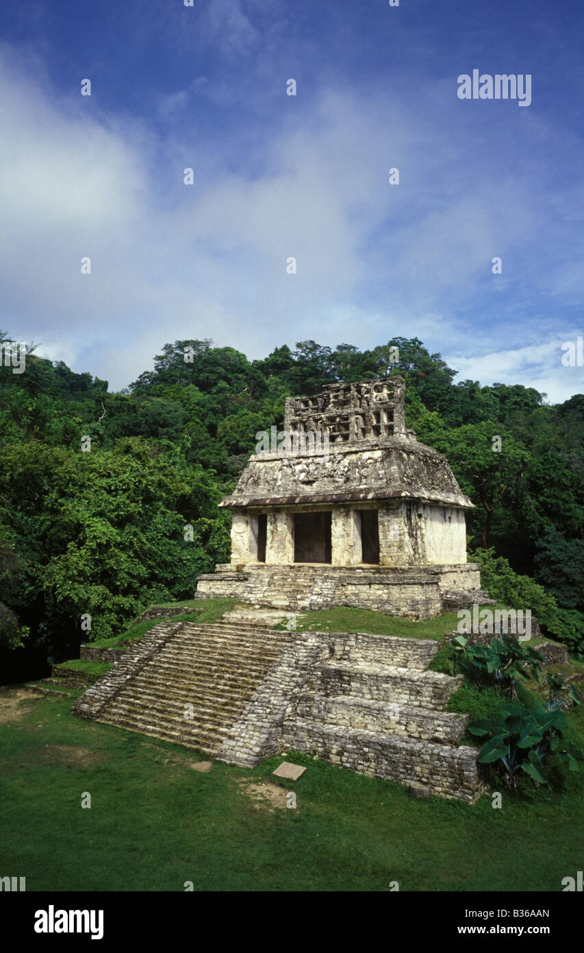 Temple of the Sun part of the Cross Complex built King Kan Bahlam (Snake Jaguar) in the late 7th century CE in Maya Stock Photo