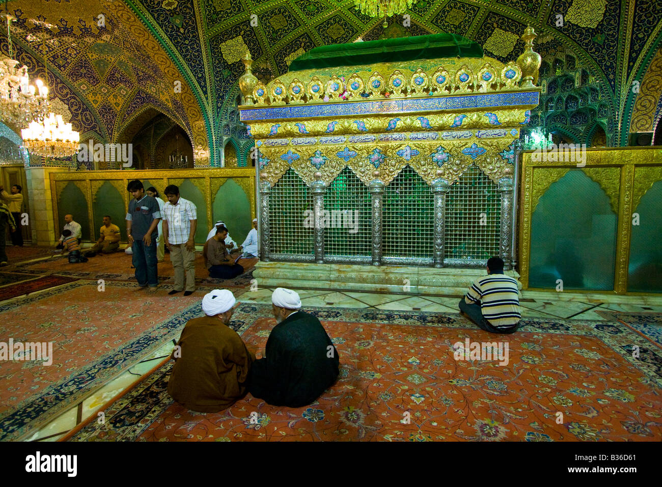 Shiite Clerics inside A Sayyda Ruqayya Shrine in Old CIty of Damascus Syria - Stock Image