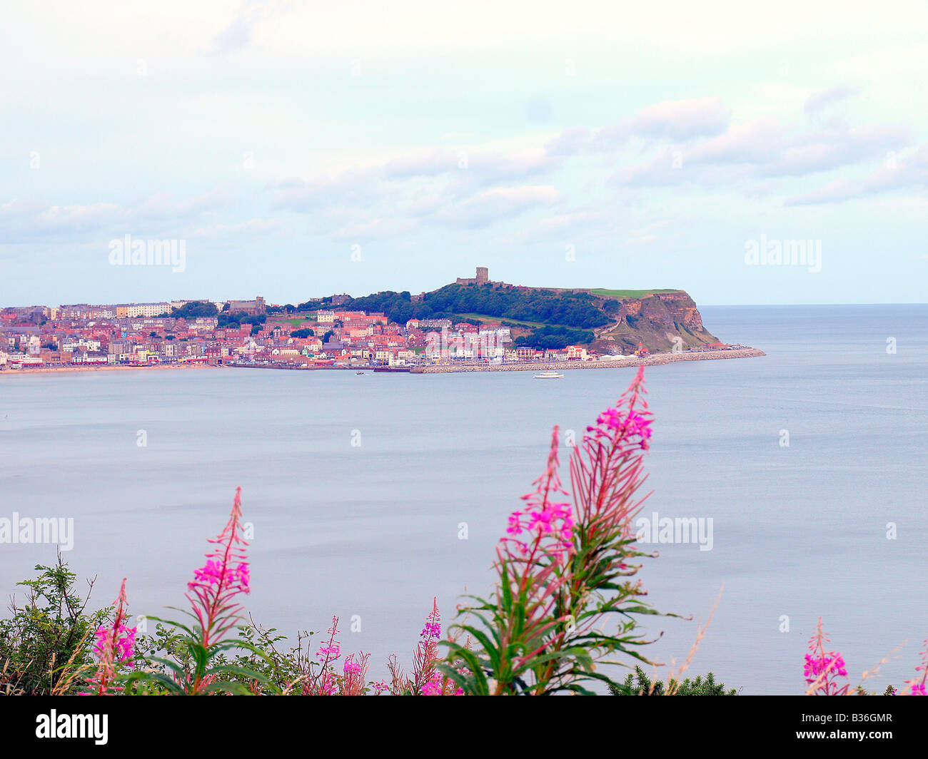 A panoramic view of the south bay and Scarborough,Yorkshire,uk. - Stock Image