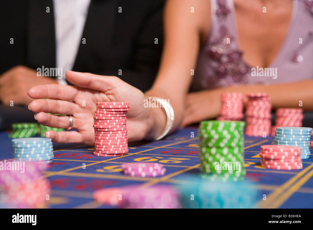 Chips on Roulette Table Stock Photo