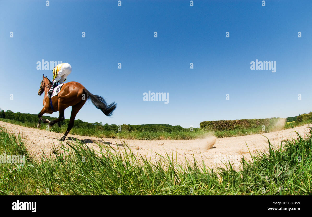 Jockey on galloping horse on the racetrack - Stock Image
