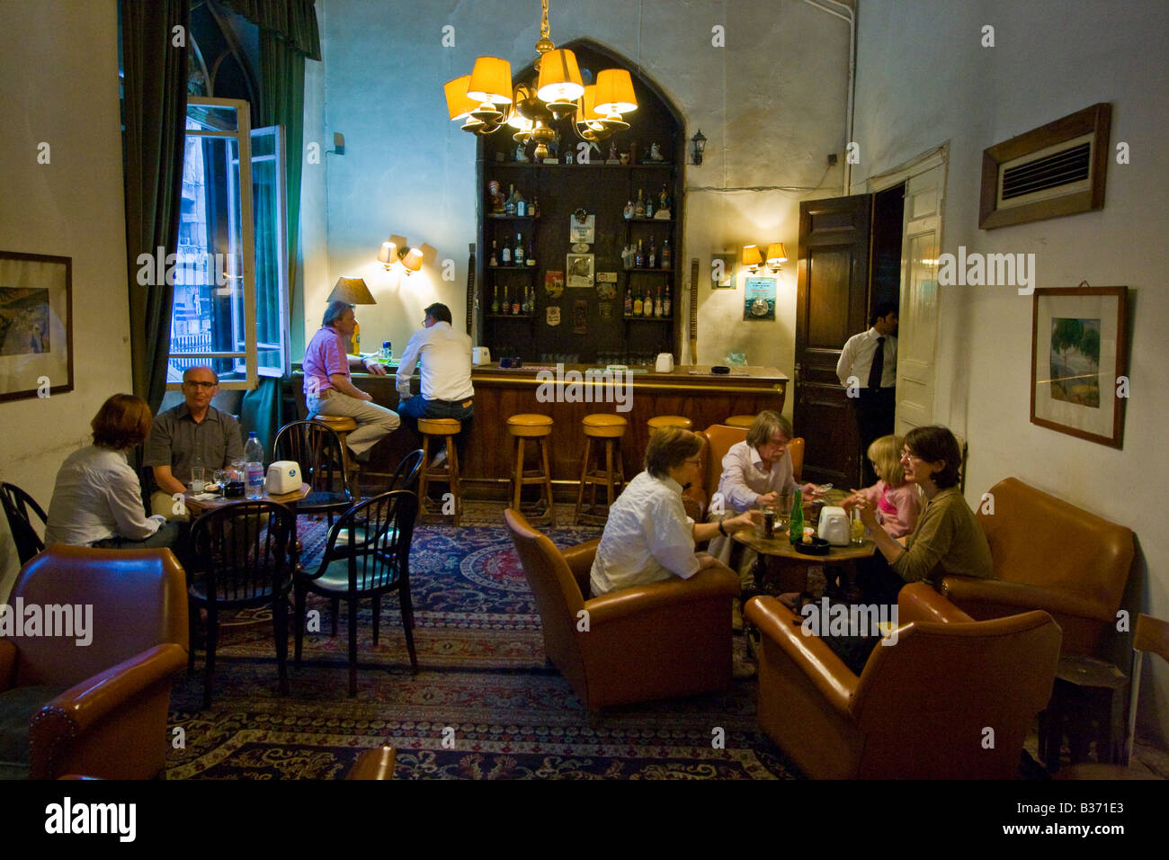 The Bar Inside the Historic Baron Hotel in Aleppo Syria - Stock Image