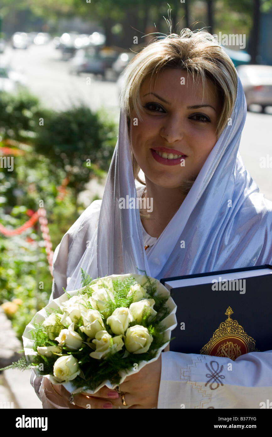 Muslim Bride in Tehran Iran - Stock Image