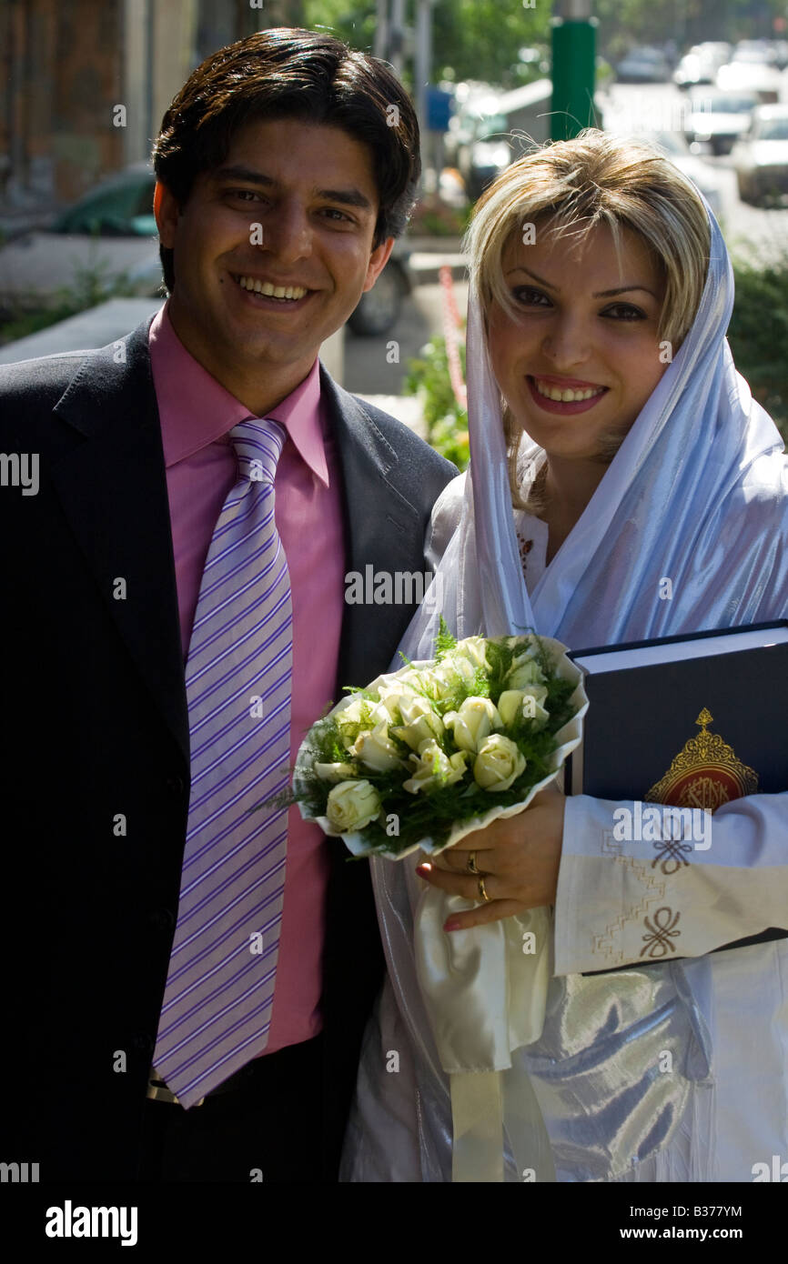 Muslim Wedding Couple in Tehran Iran - Stock Image