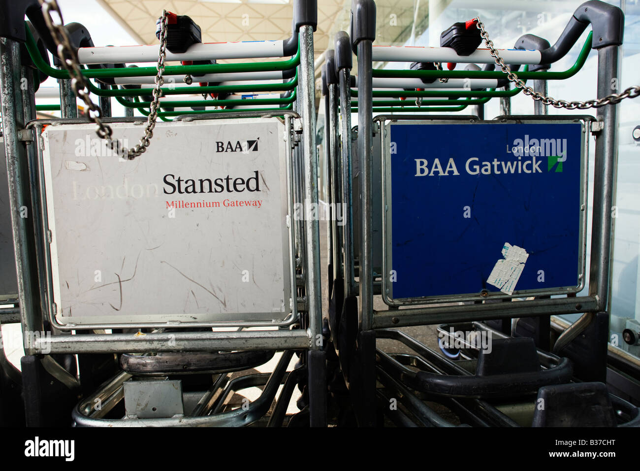 Luggage trollies from BAA run airports' London Stansted and London Gatwick - Stock Image