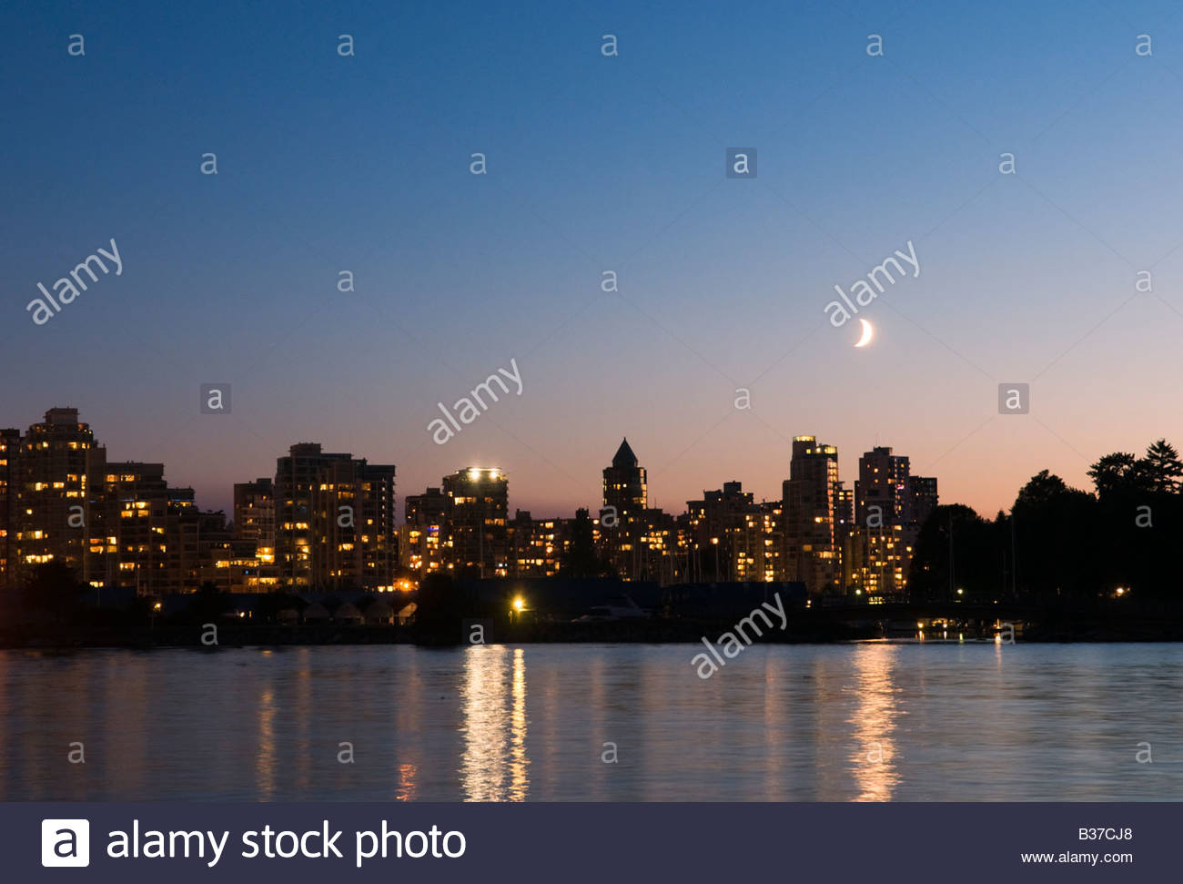 'Evening skyline Coal Harbour Vancouver Canada' - Stock Image