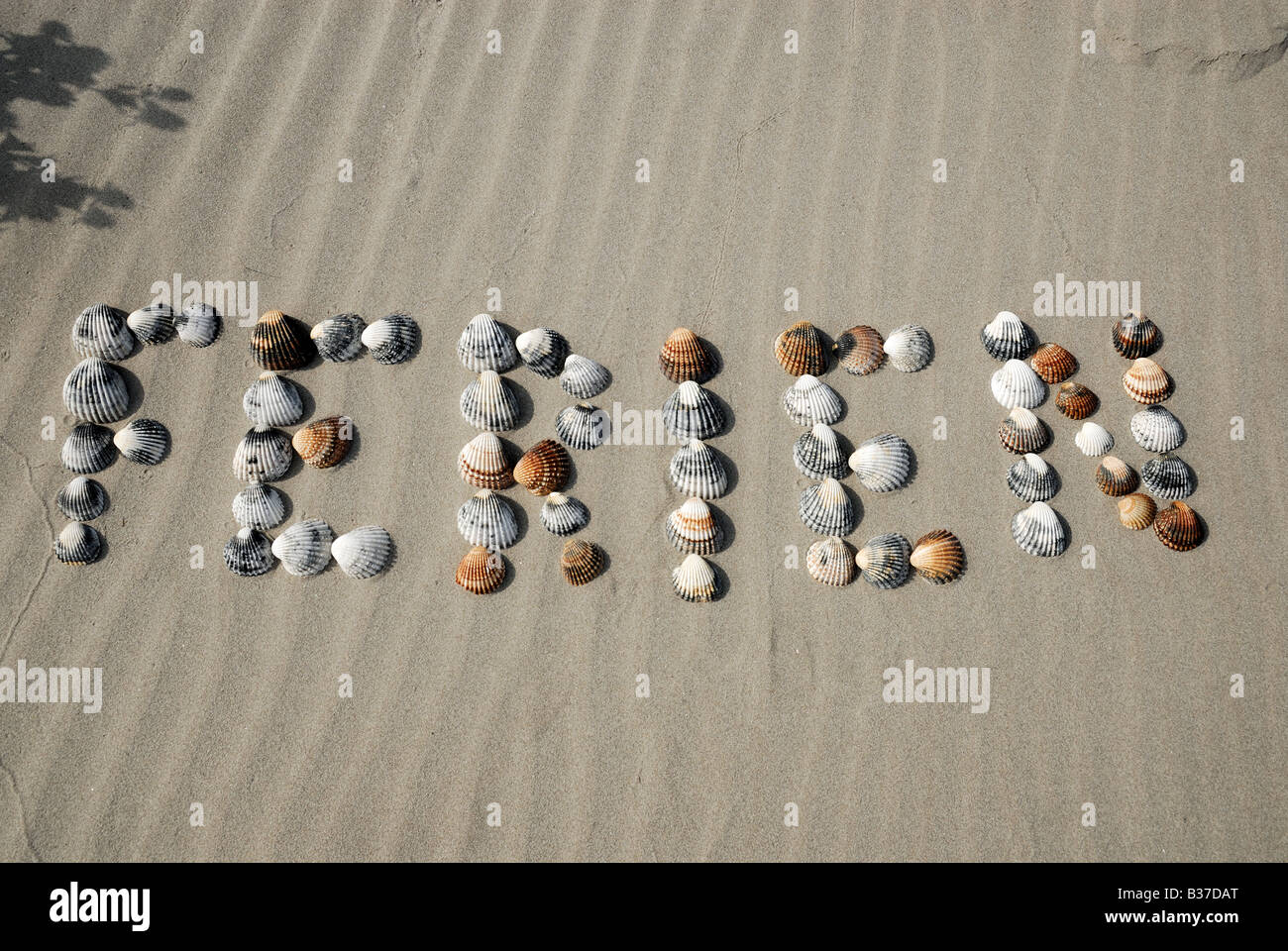 The word Ferien - German for Vacation, made of seashells on the beach - Stock Image