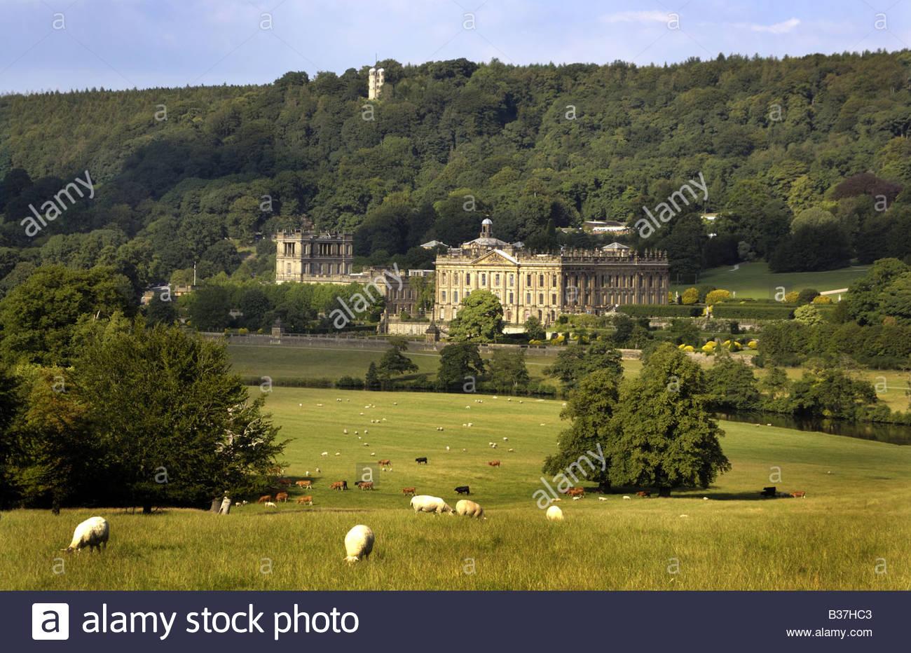Chatsworth House, Derbyshire, UK - Stock Image