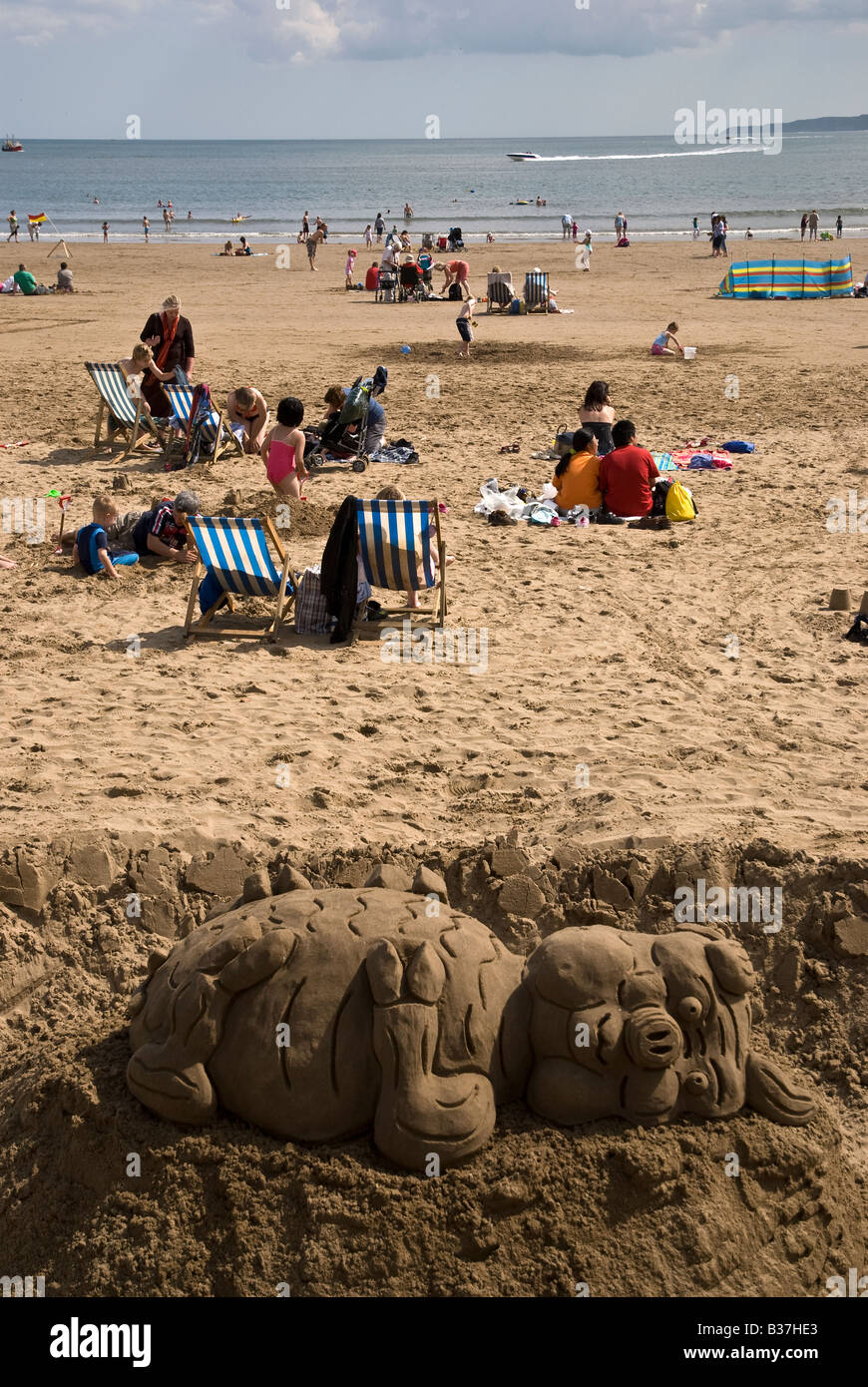 Sand Sculpture and South Sands Scarborough North Yorkshire UK - Stock Image