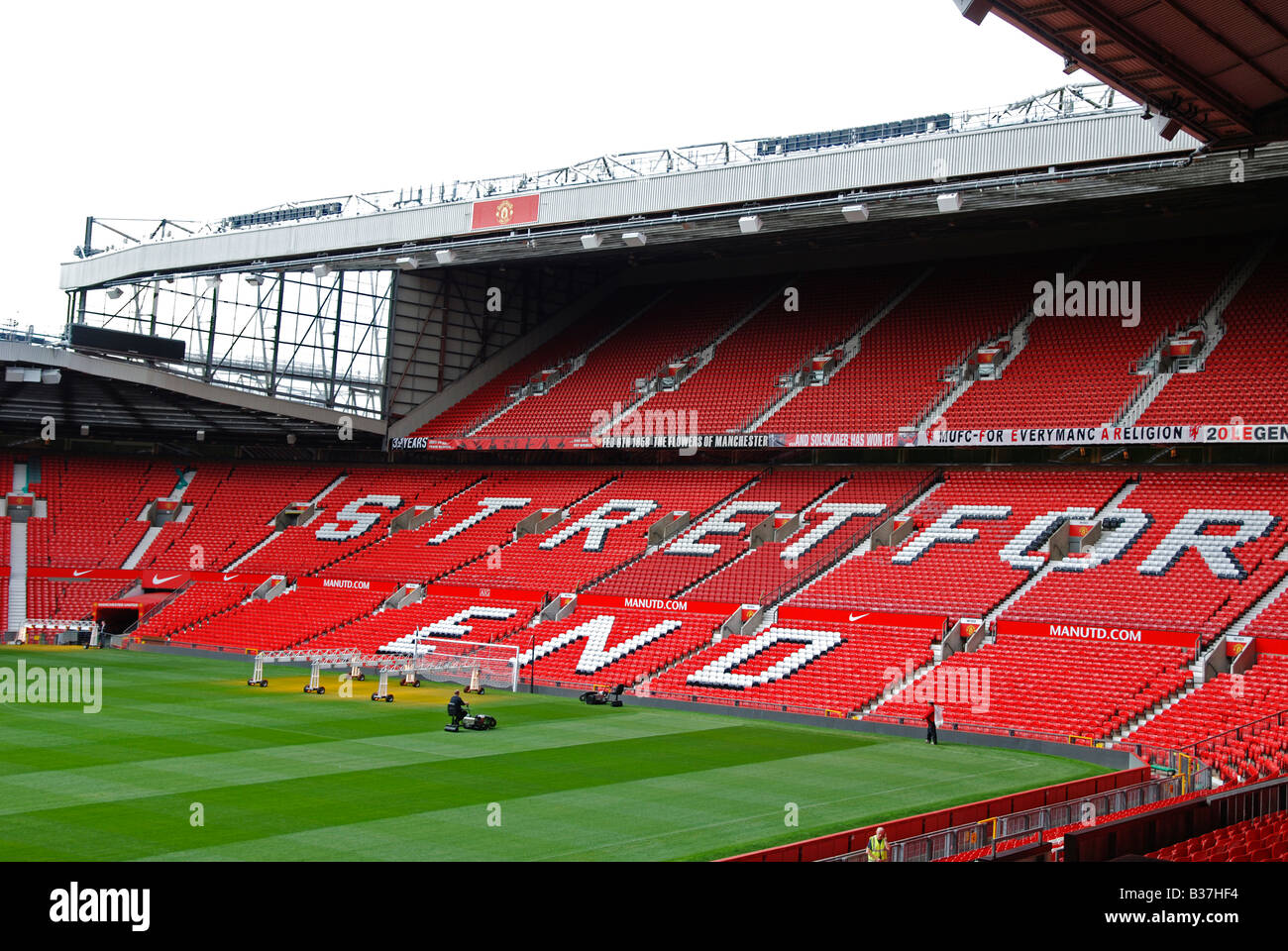 inside an empty stretford end old trafford stadium, home of manchester united football club,england,uk - Stock Image