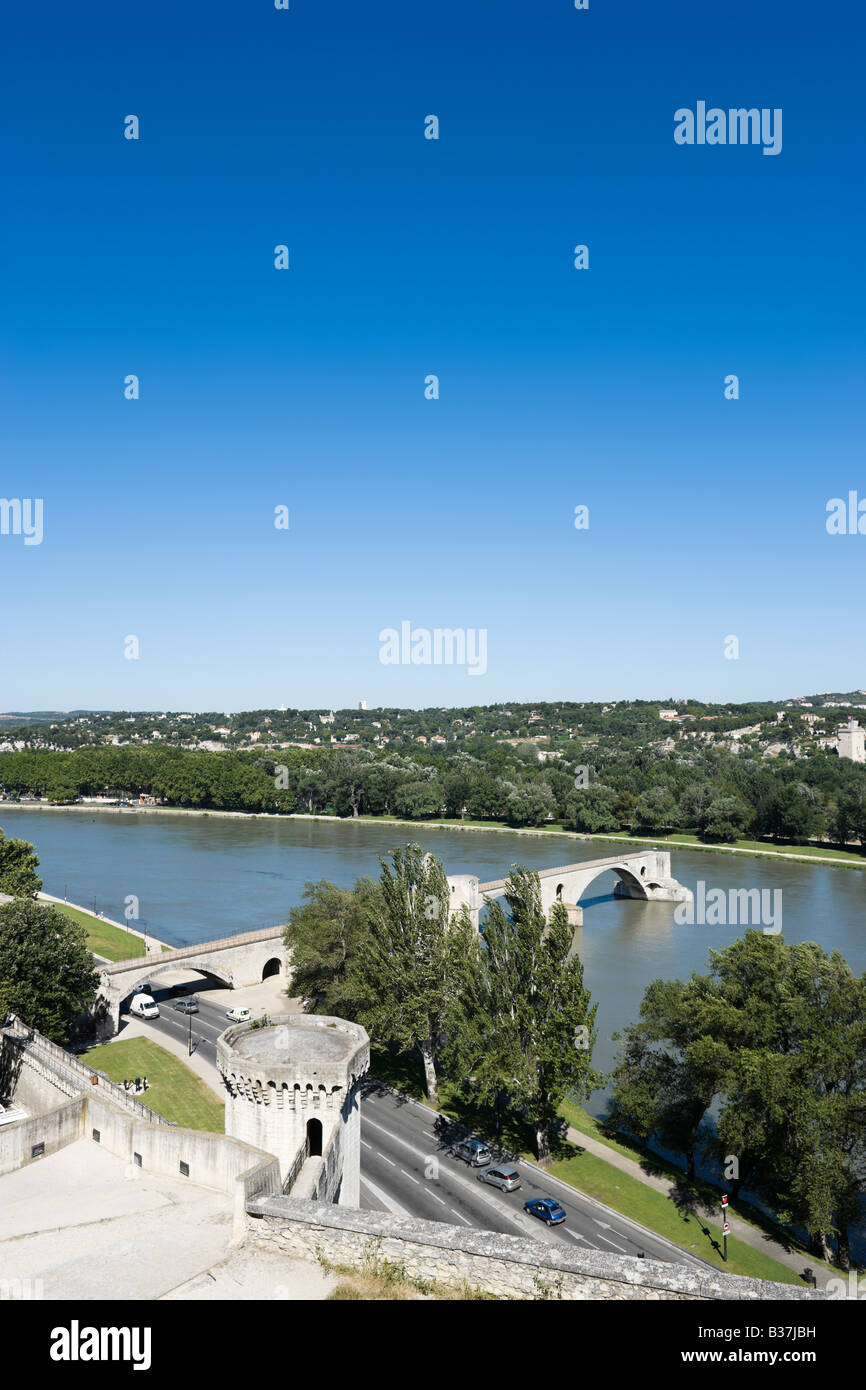 Pont Saint Benezet (the famous Pont d'Avignon) on the River Rhone from the Rocher des Doms park, Avignon, Provence, - Stock Image