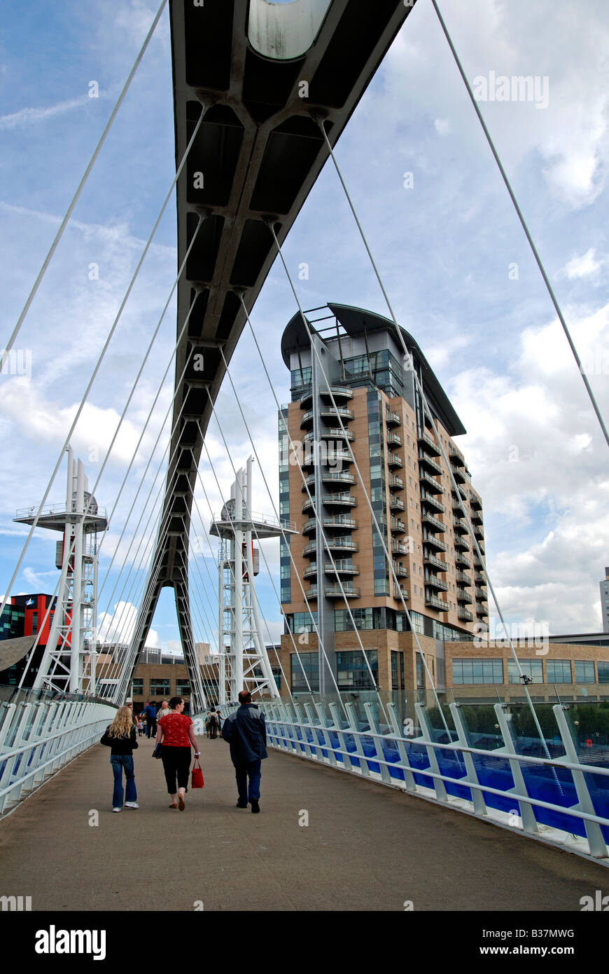 the millenium bridge leading to the lowry centre at salford quays,manchester,england,uk - Stock Image