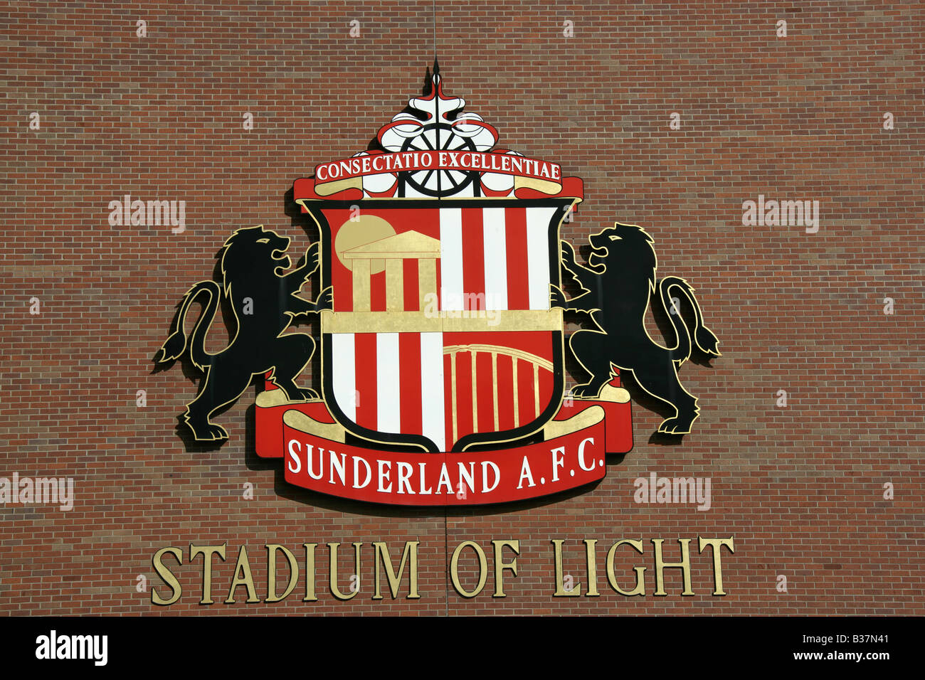 City of Sunderland, England. Sunderland AFC football crest on the west façade of  the Stadium of Light. - Stock Image