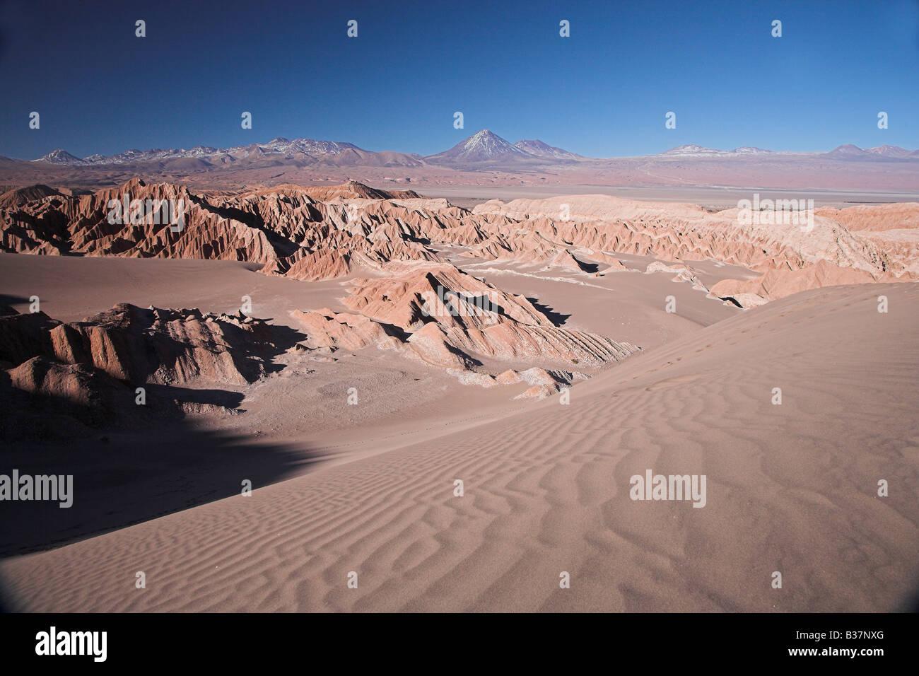 Valle de la Luna and the Atacama desert in San Pedro de Atacama in northern Chile. - Stock Image