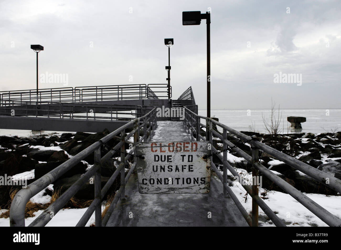 pier leading to lake erie in cleveland,ohio, usa - Stock Image