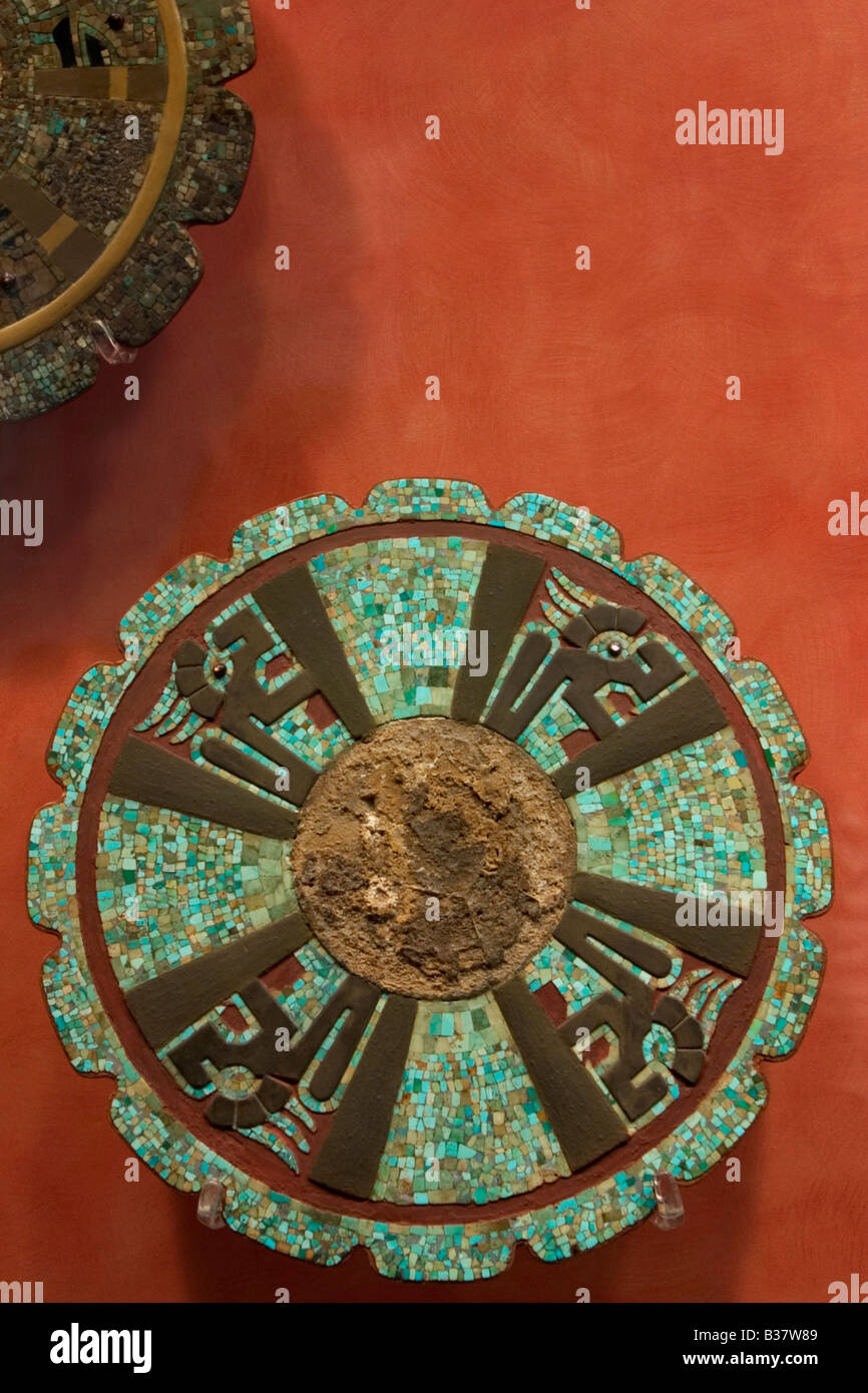 Mosaic turquoise Mayan disc with Xiuhcoatl Serpents in the National Museum of Anthropology in Mexico City. - Stock Image