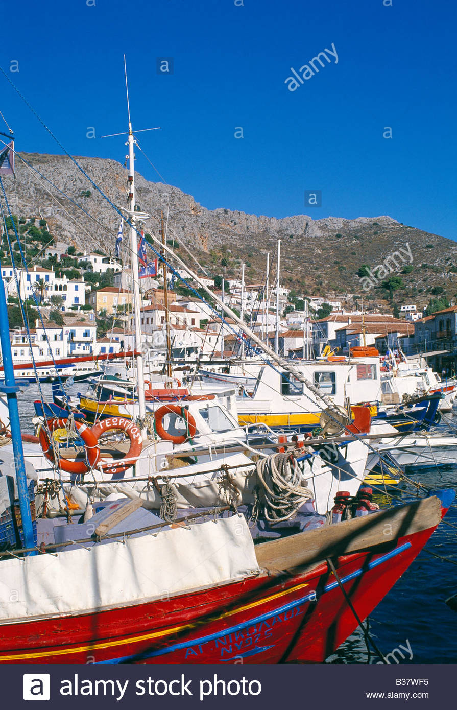 Hydra Town, Harbour, Day - Stock Image
