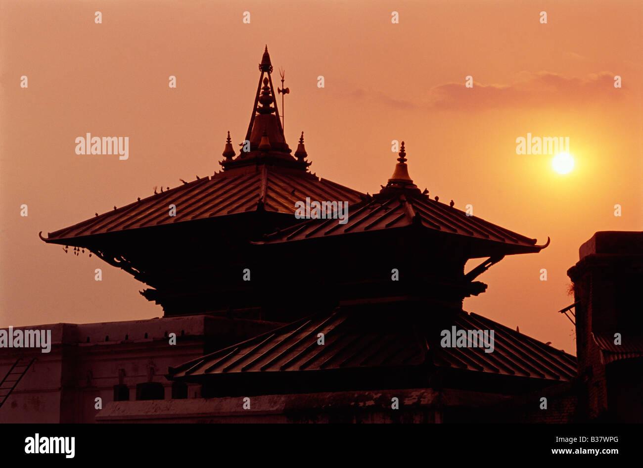 Kathmandu, Pashupatinath Temple, Sunset - Stock Image