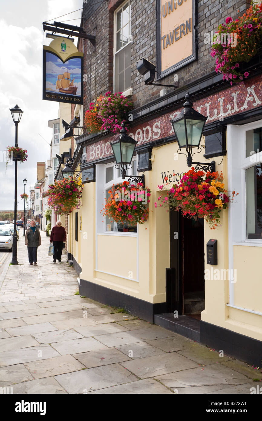 A street scene outside a pub in Portsmouth - Stock Image