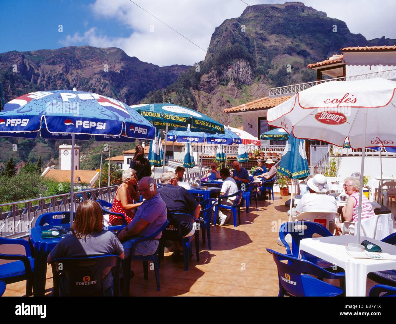 Curral Das Freiras, Cafe Scene - Stock Image
