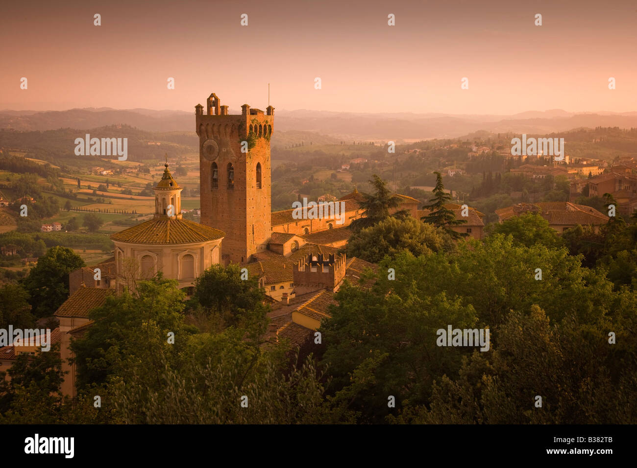 View over Tuscan hills from San Miniato in Tuscany in Italy - Stock Image