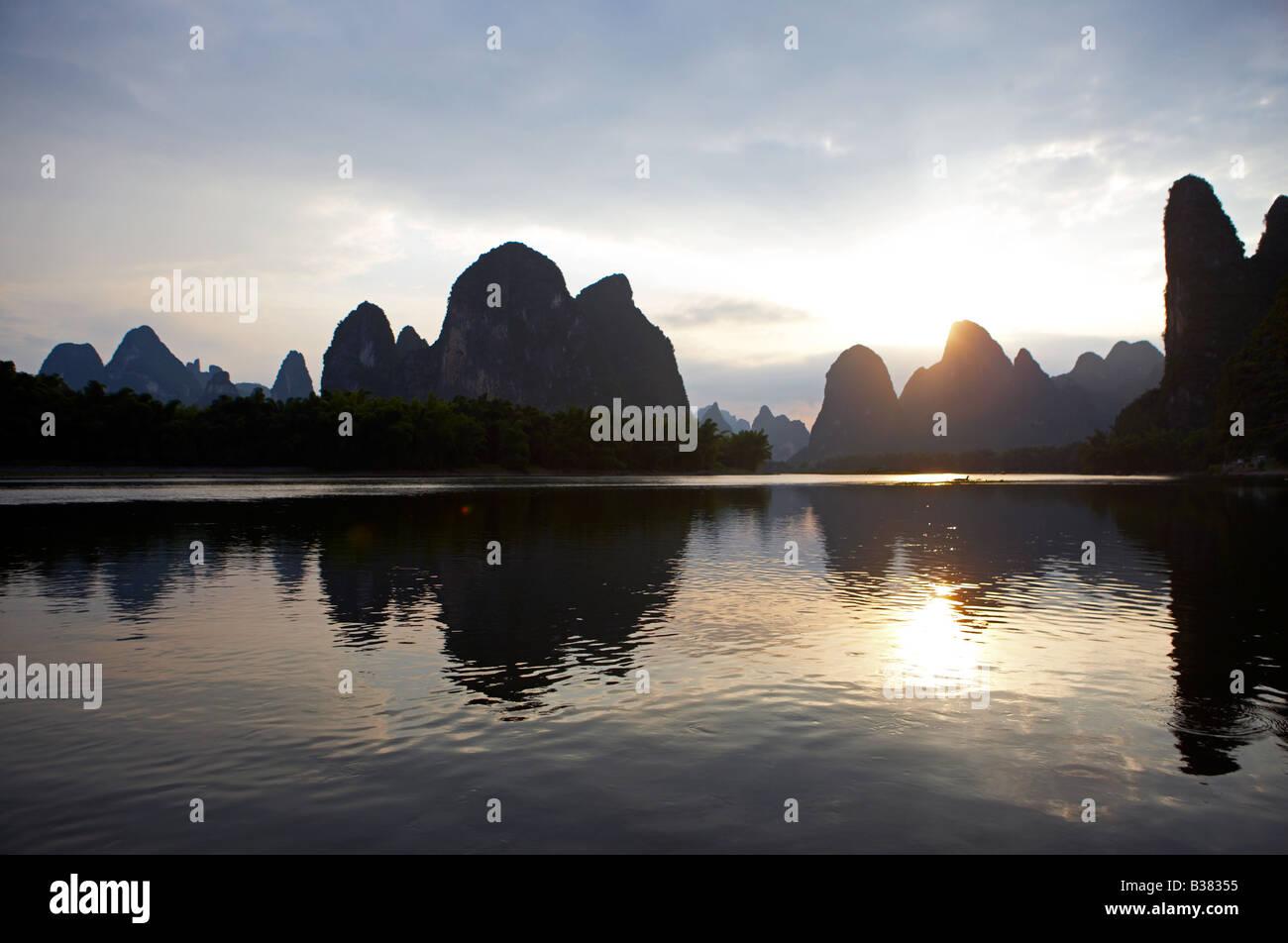 Lijang Li River Xingping Guilin province China - Stock Image