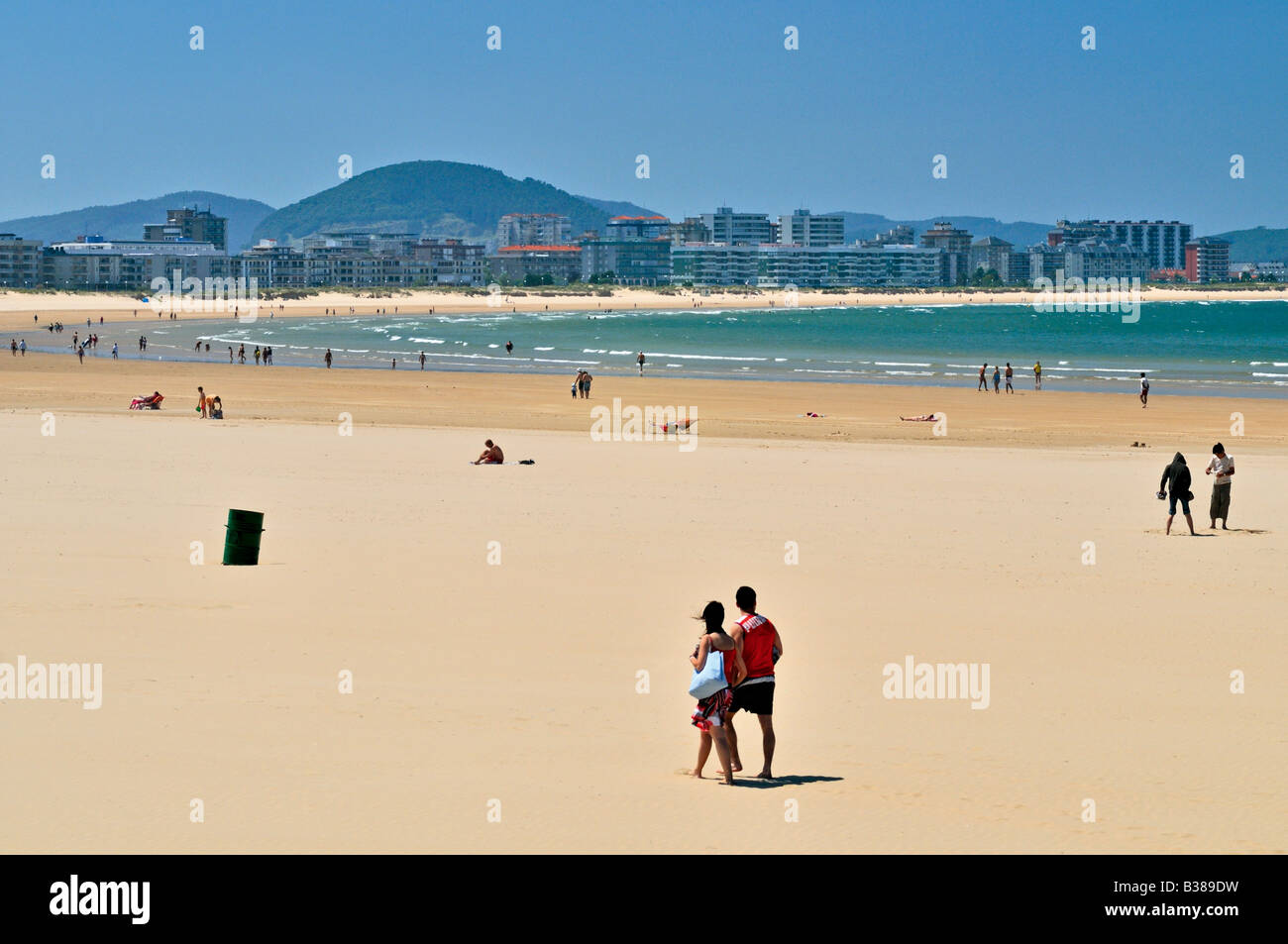 Spain, Cantabria: Beach El Sable in Laredo - Stock Image