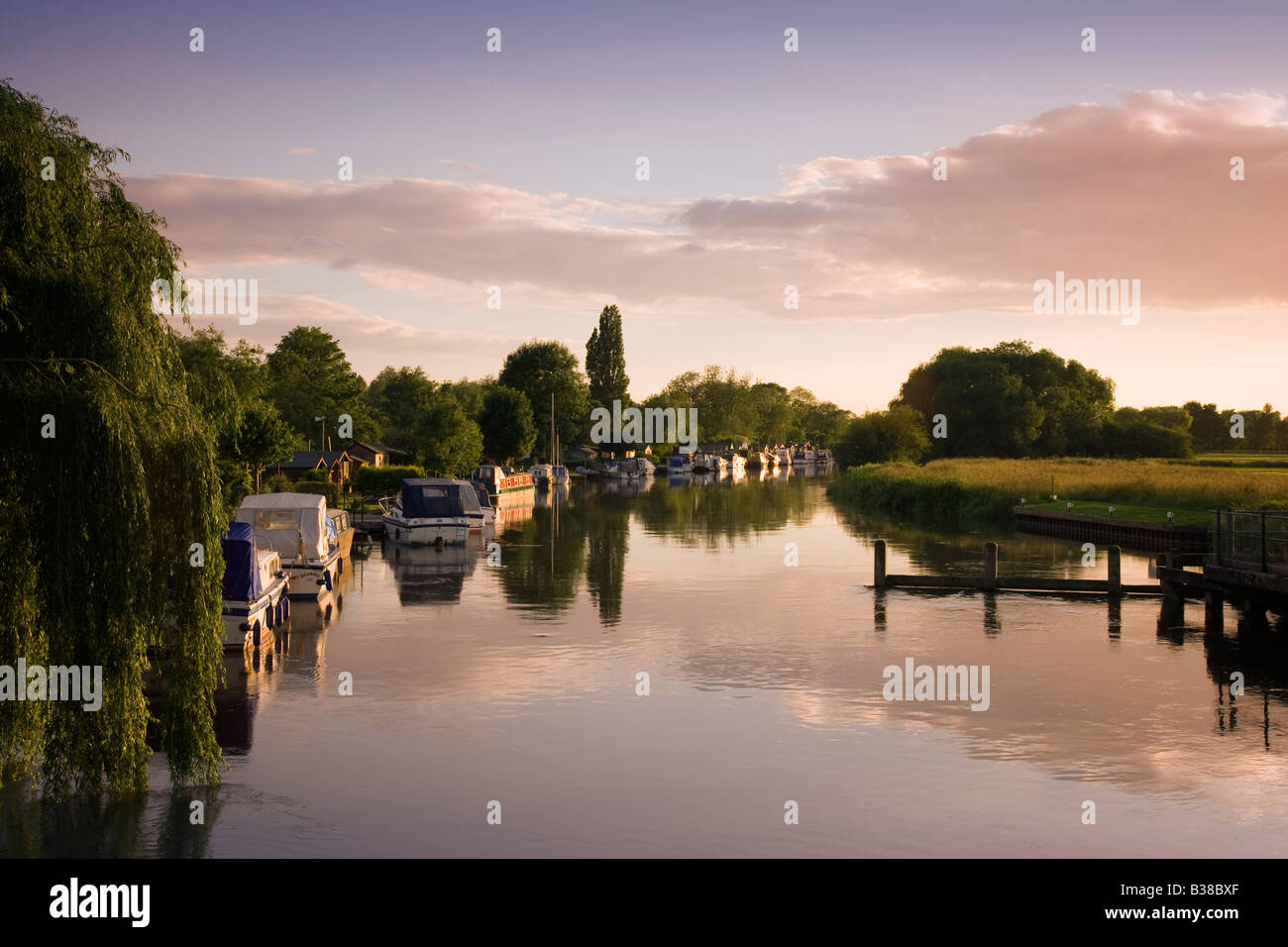 Boats along the River Nene at Peterborough in Cambridgeshire - Stock Image