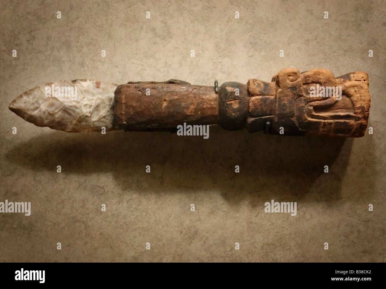 Ceremonial flint Aztec / Mexica sacrificial knife with carved wooden handle at the National Museum of Anthropology - Stock Image