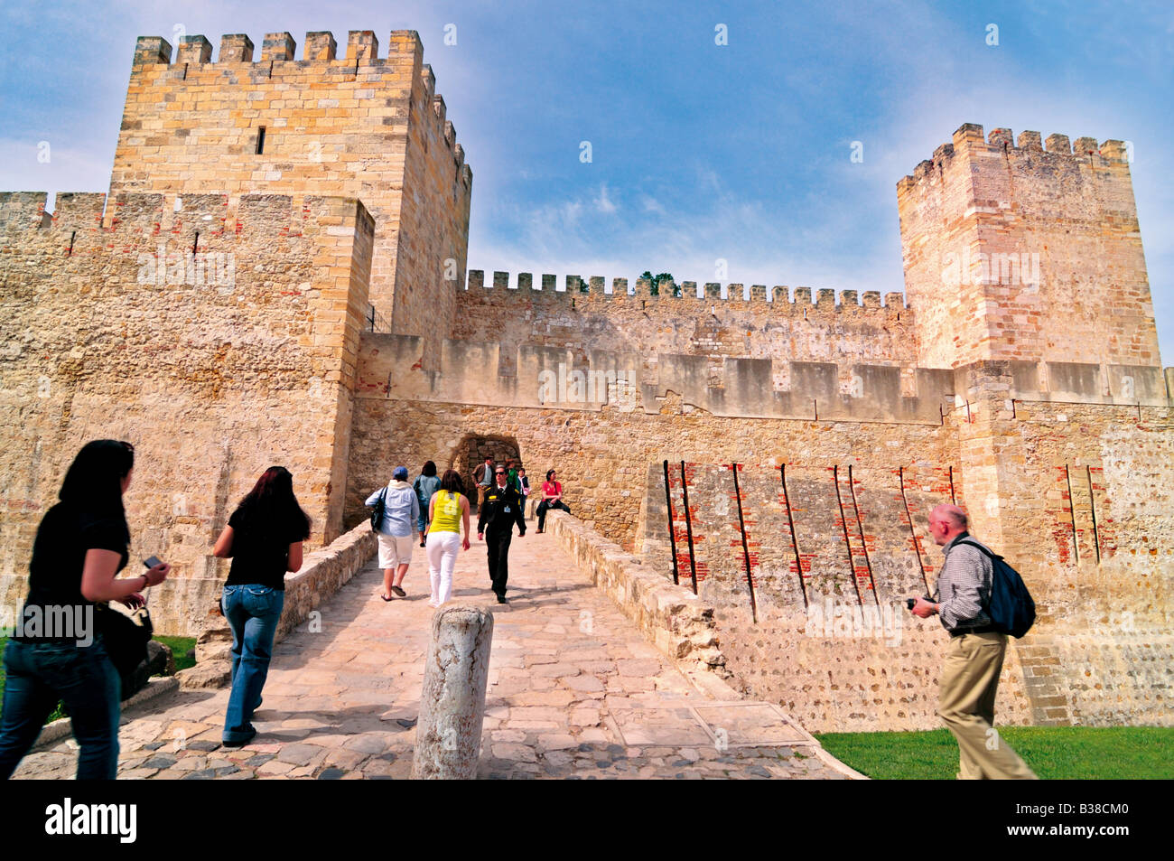 Tourists visiting the Castle Saint George in Lisbon - Stock Image