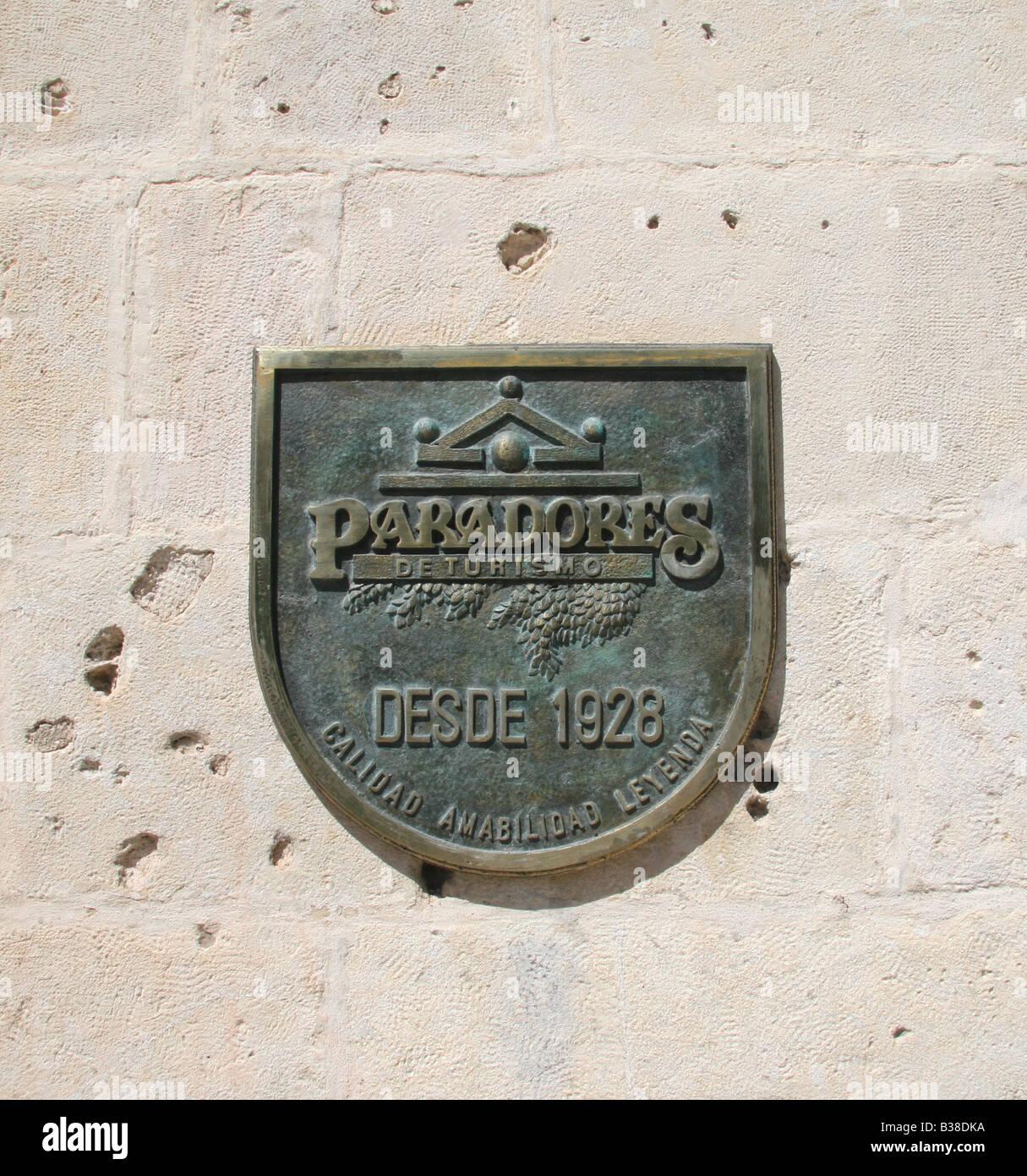 Paradores de Turismo plaque. - Stock Image