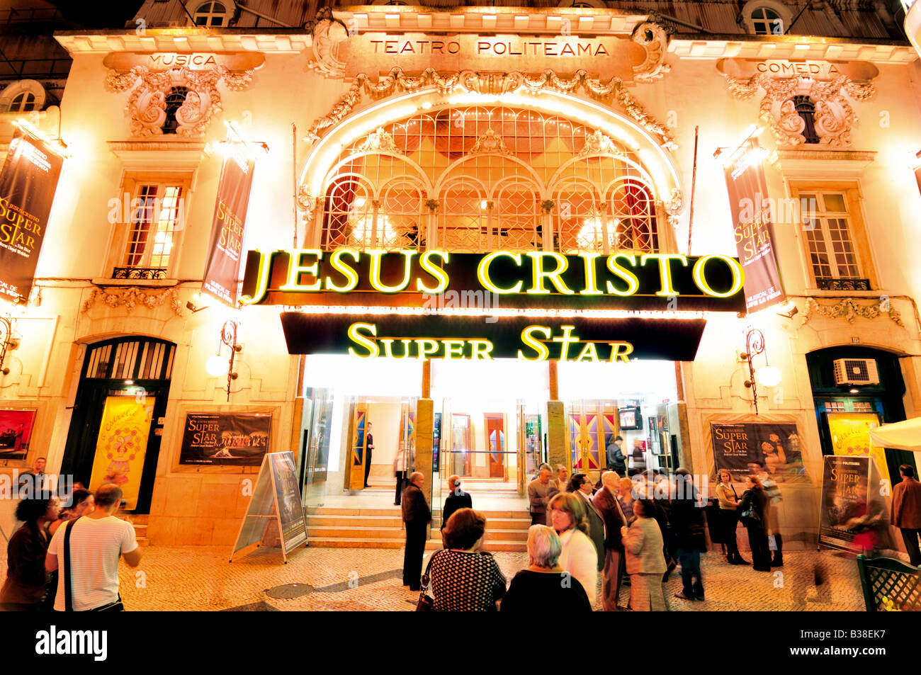 People waiting for to enter in the Jesus Christ Superstar Musical  night show in front of theatre in Lisbon - Stock Image