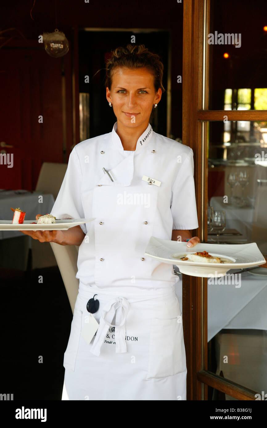 Aug 2008 - Waiter at the upmarket Kampa Park Restaurant Mala Strana Prague Czech Republic - Stock Image