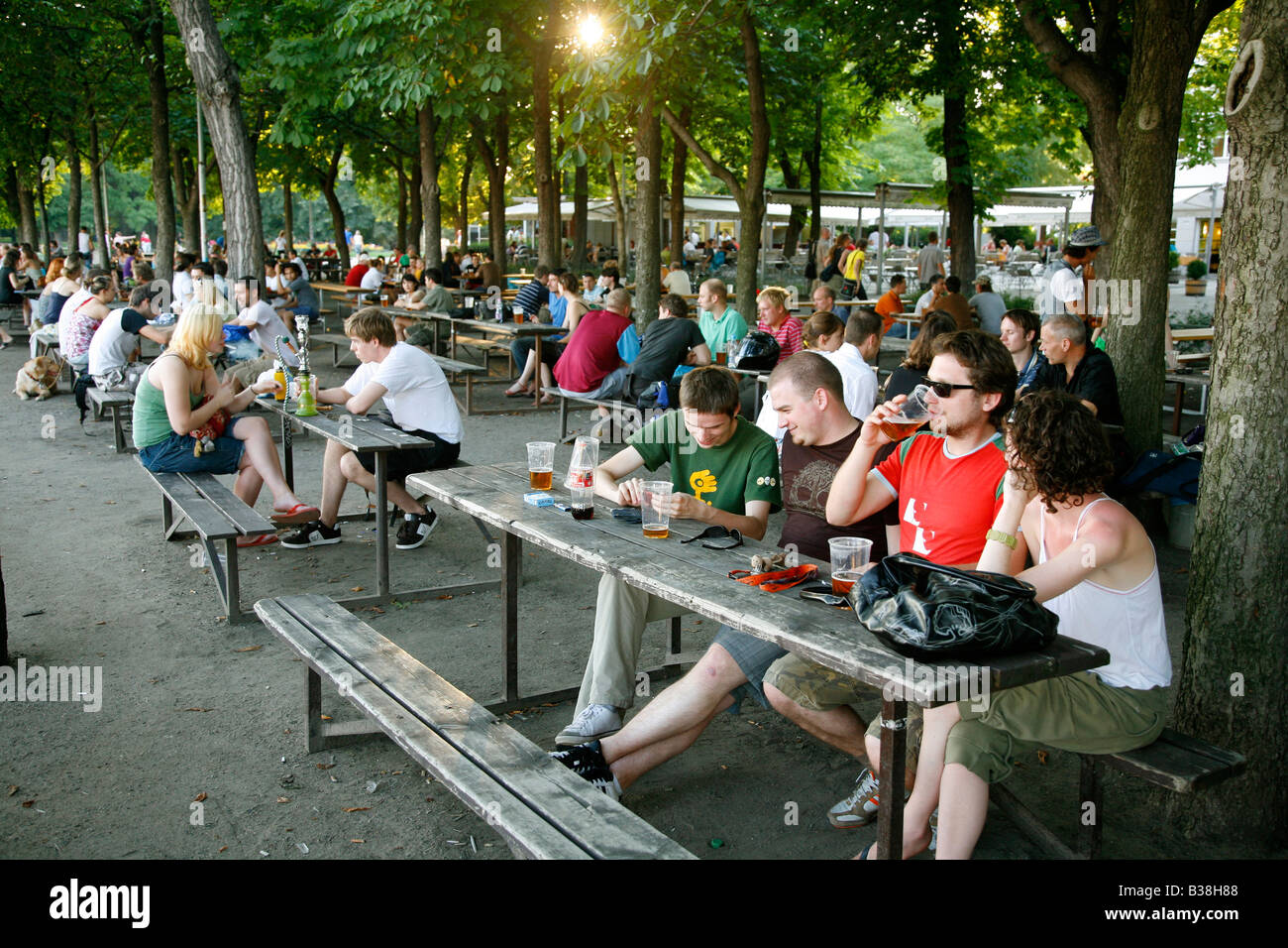 Aug 2008 - People sitting at a beer garden in Letna Park Prague Czech Republic Stock Photo