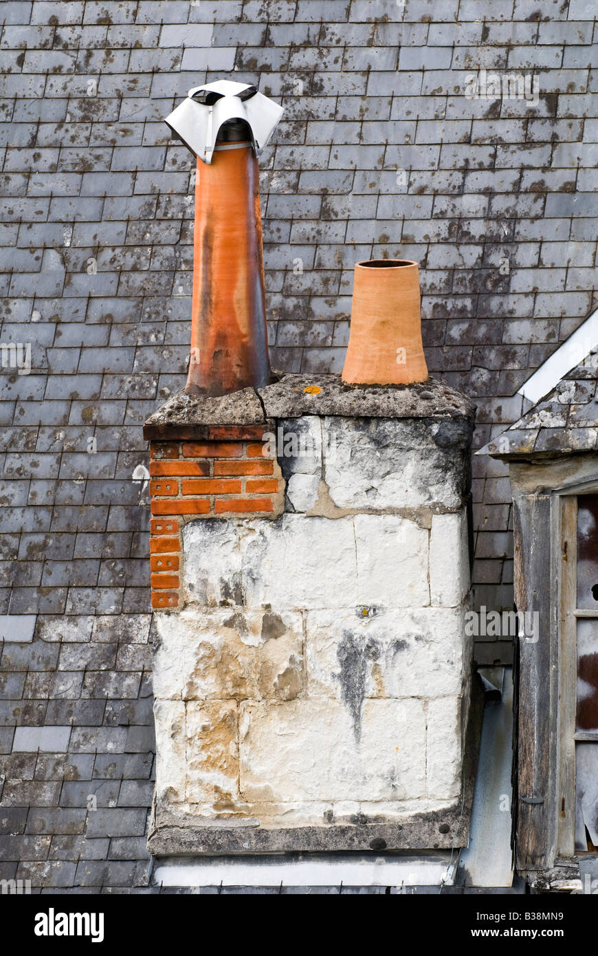 Old chimney stack - Loches, France. - Stock Image