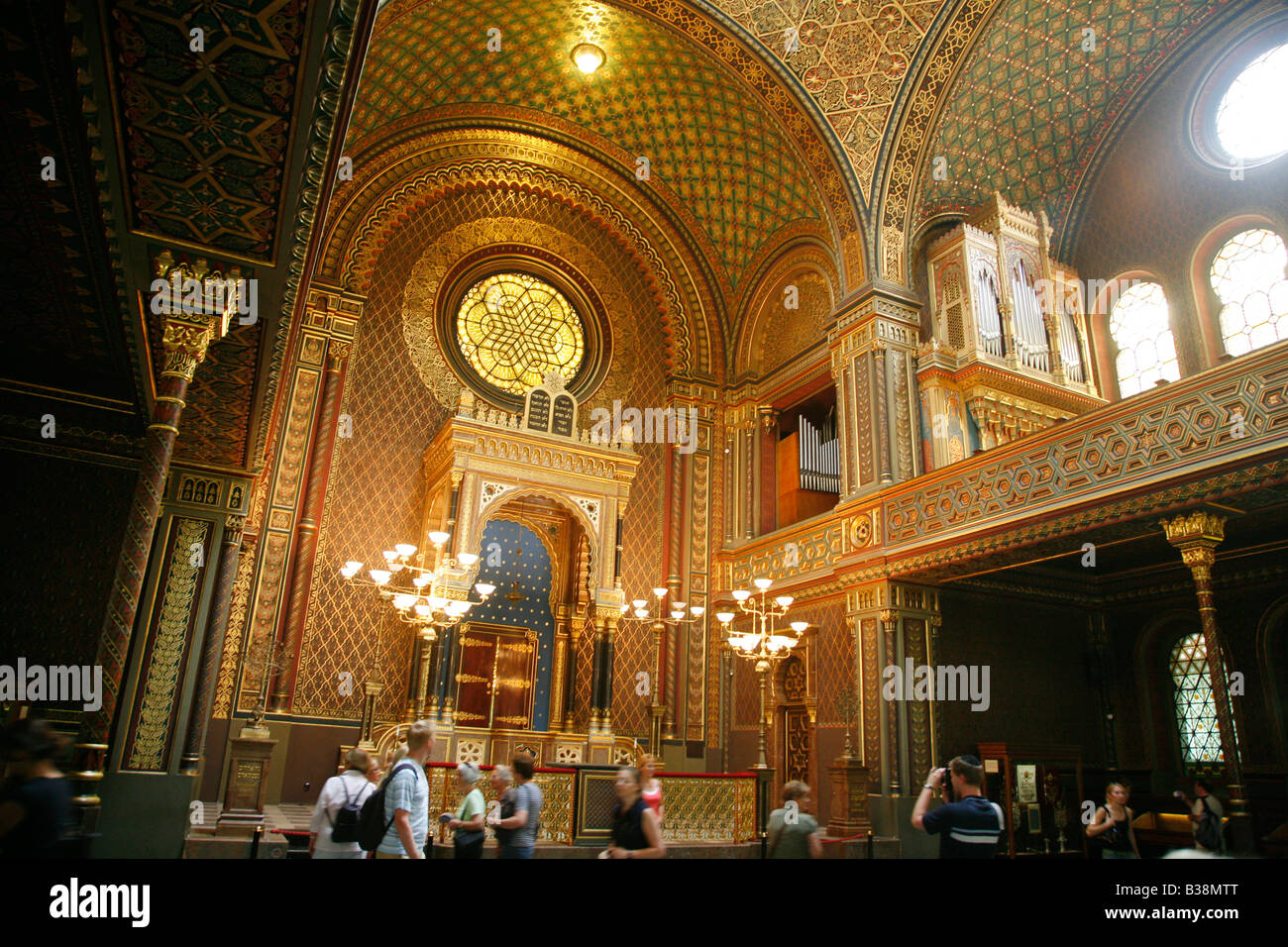 The Spanish Synagogue Josefov Prague Czech Republic - Stock Image