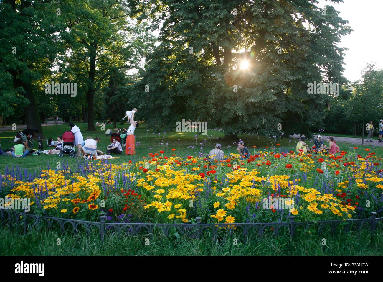 People relaxing at Letna Park Prague Czech Republic - Stock Image