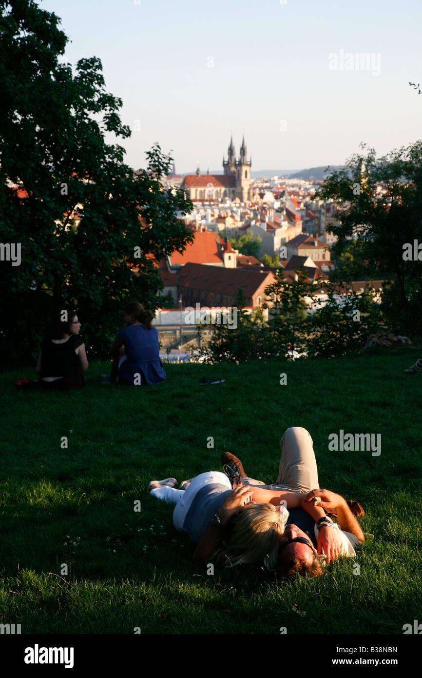 Aug 2008 - Couple relaxing at Letna Park Prague Czech Republic Stock Photo