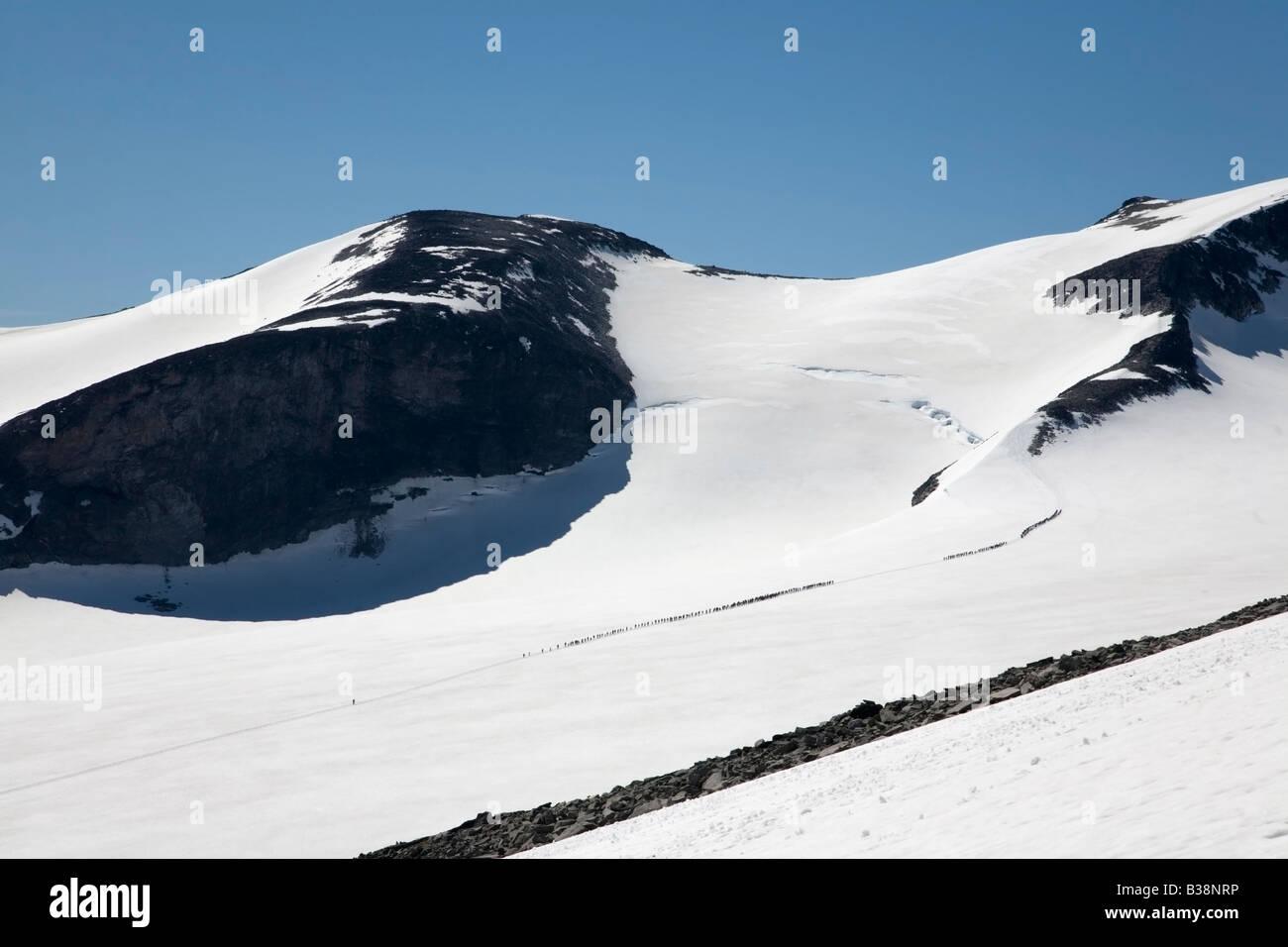 Norway Jotunheimen fjell Galdhöpiggen tourists on glacier summer 2008 - Stock Image