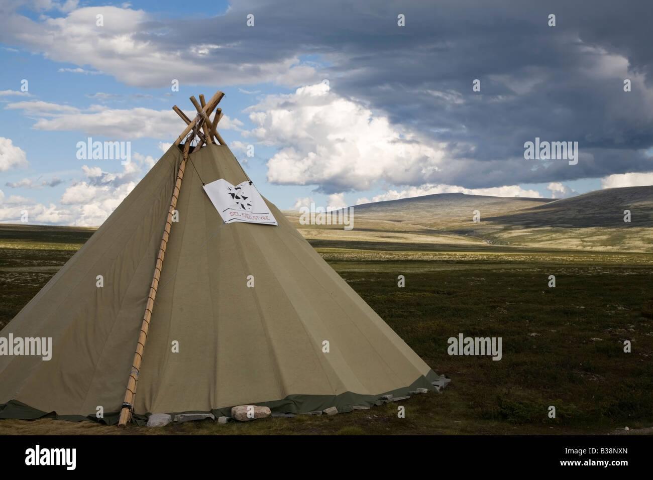 Norway Rondane national park laplander  tent hut - Stock Image